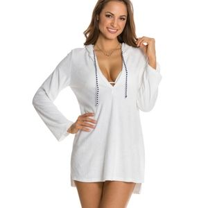Splendid White Terry Hooded Tunic Cover-up XS